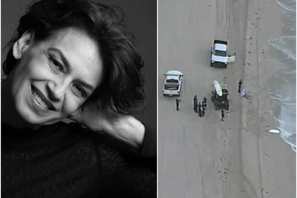 Broselianda Hernández e as imagens do resgate do seu corpo na praia (Foto: Reprodução)